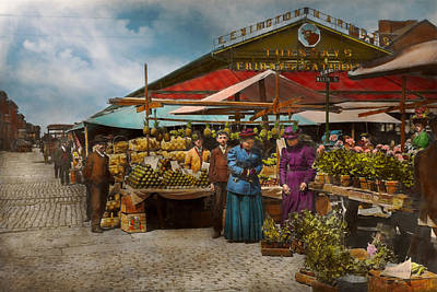Photograph - City - Lexington Market Baltimore Maryland 1890 by Mike Savad