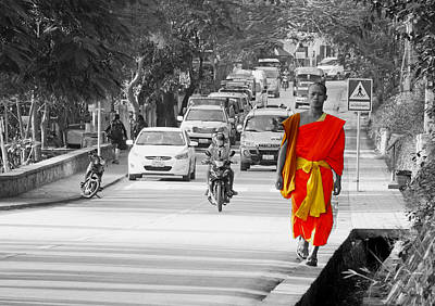 City Life In Laos Art Print