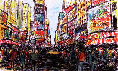 Painting - City Life, New York  by K McCoy