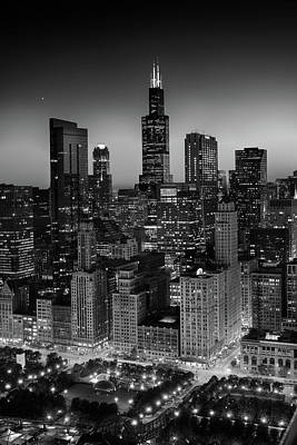 Millennium Park Photograph - City Light Chicago B W by Steve Gadomski