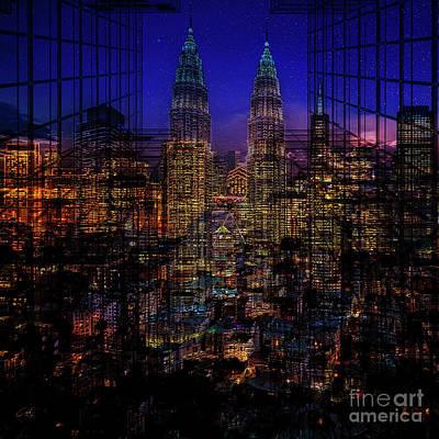 Mixed Media - City Lights by Barbara Dudzinska