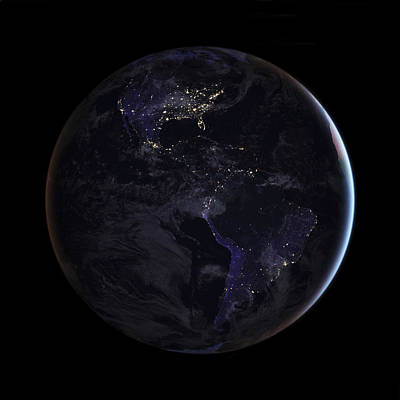 Photograph - City Lights Of The Americas From Space by Mark Kiver