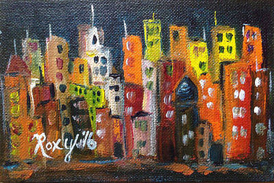 Cities Painting - City Lights by Roxy Rich