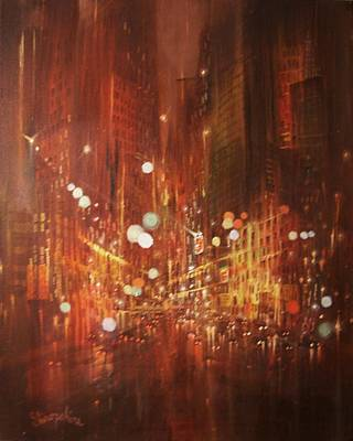 Night City Painting - City Lights by Tom Shropshire
