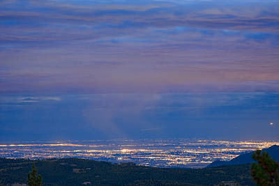 City Lights View From Boulder County Elevation Art Print