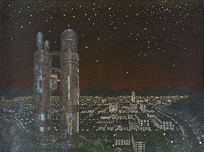 Nightscape Painting - City Limit by Jon Carroll Otterson