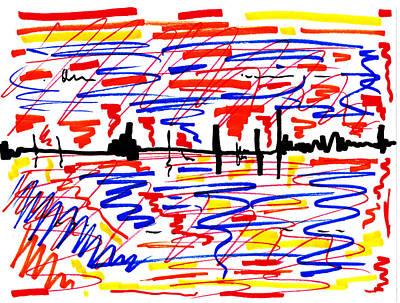 Abstract Digital Drawing - City Limits - Before Wet Wash by Sir Josef - Social Critic -  Maha Art