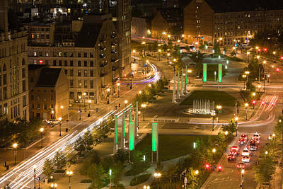 City Lit Up At Dusk, Atlantic Avenue Art Print by Panoramic Images