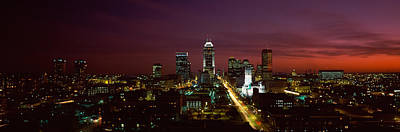 City Lit Up At Night, Indianapolis Art Print by Panoramic Images