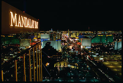 The Western Hotel Photograph - City Lit Up At Night, Mandalay Bay by Panoramic Images