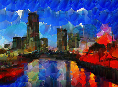 Tokyo Skyline Painting - City Living - Tokyo - Skyline by Sir Josef - Social Critic - ART