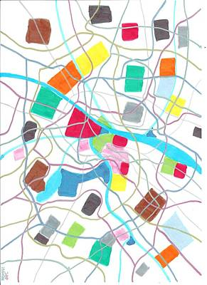 Abstract Map Drawing - City Map by Jeroen Hollander