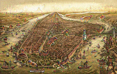 Mixed Media - City Map New York Manhattan 1870 Deep Dream by Matthias Hauser