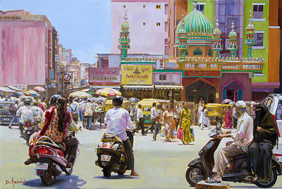 Painting - City Market In Bangalore, India by Dominique Amendola