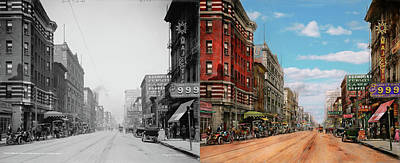 Print featuring the photograph City - Memphis Tn - Main Street Mall 1909 - Side By Side by Mike Savad