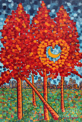 Hearts On Trees Painting - City Moonshine by Holly Carmichael