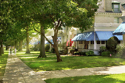 Photograph - City - Naval Academy - A Walk Down Captains Row by Mike Savad