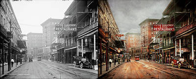 City - New Orleans - A Look At St Charles Ave 1910 - Side By Side Art Print by Mike Savad