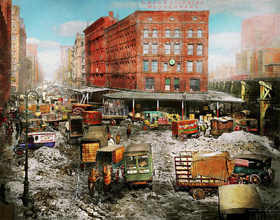 Photograph - City - New York Ny - Stuck In A Rut 1920 by Mike Savad