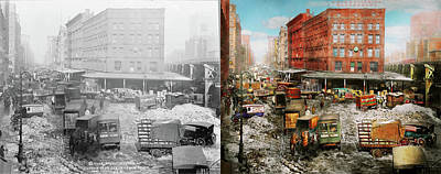 Photograph - City - New York Ny - Stuck In A Rut 1920 - Side By Side by Mike Savad
