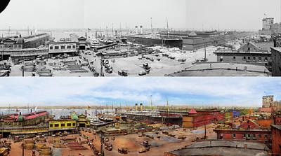 Photograph - City - New York Ny - White Star Line Piers 1905 - Side By Side by Mike Savad
