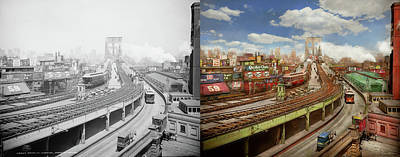 Photograph - City - New York - The Brooklyn Bridge From 1903 - Side By Side by Mike Savad