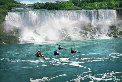 Photograph - City - Niagara Ny - Flying Over The Niagara by Mike Savad