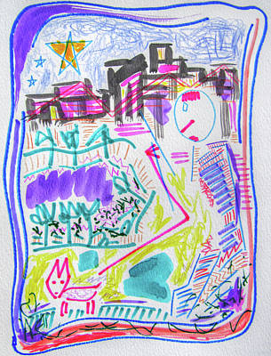 City Night Dog Walk  Art Print by Nicholas Vitale
