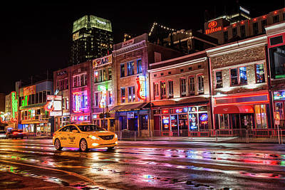 Photograph - City Nights - Neon Lights On Lower Broadway - Nashville Tennessee by Gregory Ballos