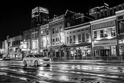 Photograph - City Nights On Lower Broadway - Nashville Tennessee - Black And White by Gregory Ballos
