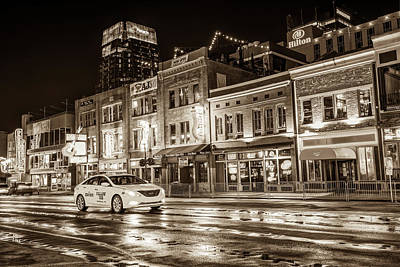 Photograph - City Nights Sepia - Neon Lights On Lower Broadway - Nashville Tennessee by Gregory Ballos