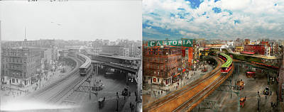 City - Ny - Chatham Square 1900 - Side By Side Art Print by Mike Savad