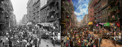 Photograph - City - Ny - Flavors Of Italy 1900 Side By Side by Mike Savad