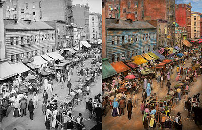 Photograph - City - Ny - Jewish Market On The East Side 1890 Side By Side by Mike Savad