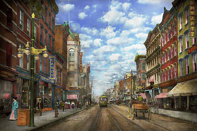 Poughkeepsie Photograph - City - Ny - Main Street - Poughkeepsie Ny - 1906 by Mike Savad