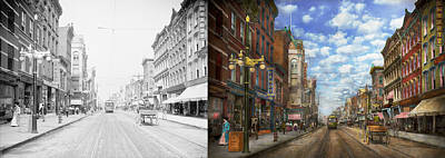 Poughkeepsie Photograph - City - Ny - Main Street Poughkeepsie Ny - 1906 - Side By Side by Mike Savad