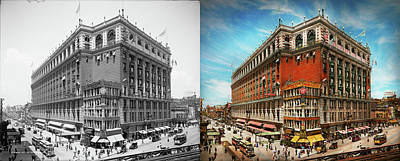 Photograph - City - Ny New York - The Nation's Largest Dept Store 1908 - Side by Mike Savad