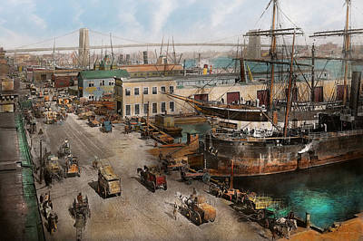 City - Ny - South Street Seaport - 1901 Art Print by Mike Savad