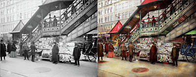 Paper Boy Photograph - City - Ny - Want A Paper Mister 1903 - Side By Side by Mike Savad
