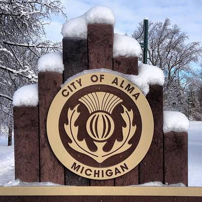 City Of Alma Michigan Snow Art Print