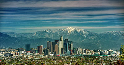 City Of Angeles Snow Capped Mountain Art Print by David Zanzinger