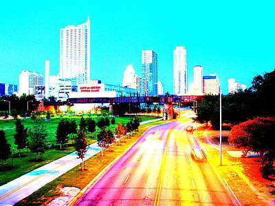 City Of Austin From The Walk Bridge Art Print