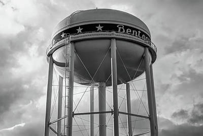Photograph - City Of Bentonville Arkansas Water Tower - Black And White by Gregory Ballos