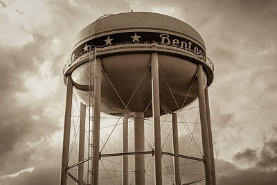 Photograph - City Of Bentonville Arkansas Water Tower - Sepia by Gregory Ballos