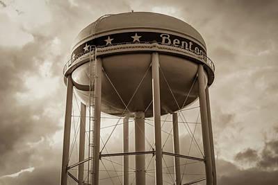 Photograph - City Of Bentonville Arkansas Water Tower - Sepia by Gregory Ballos