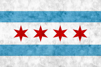 Cotton Mixed Media - City Of Chicago Flag by Christopher Arndt