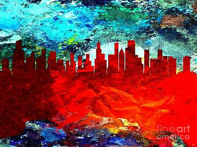 Chicago Skyline Mixed Media - City Of Chicago Grunge by Daniel Janda
