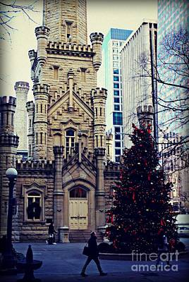 Frank J Casella Royalty-Free and Rights-Managed Images - City of Chicago Old Water Tower Christmas by Frank J Casella