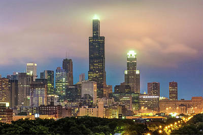 Cities Photograph - City Of Chicago Skyline At Night by Gregory Ballos
