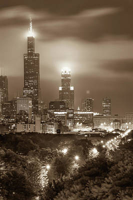 Photograph - City Of Chicago Skyline Over The Trees In Sepia by Gregory Ballos
